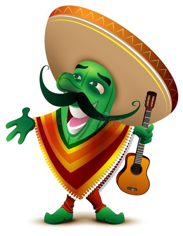 Grön mexicansk kaktus i sombrero- och ponchoallsånger vektor illustrationer