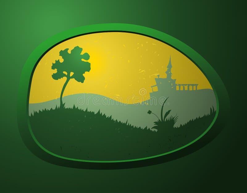 Grön miljö på en Oval formad sten vektor illustrationer