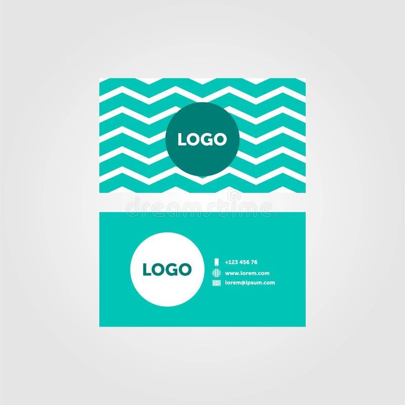 Grön minsta kortdesign för företags affär med stället för logo stock illustrationer