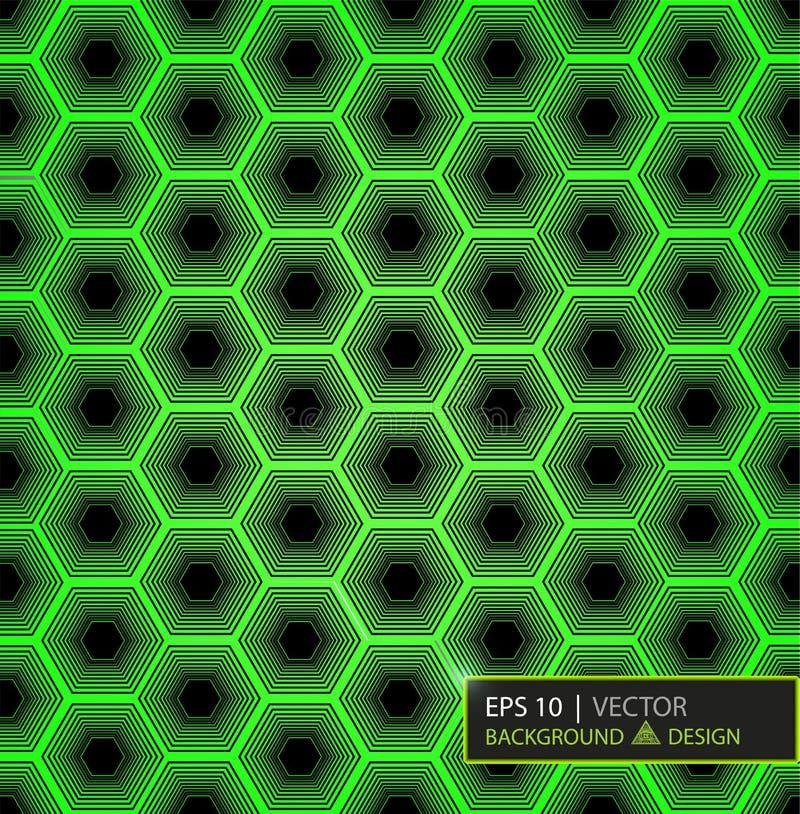 Grön modell för kolfibersexhörning Bakgrund och texturerar för illustrationsköld för 10 eps vektor vektor illustrationer