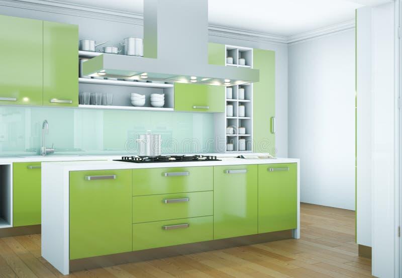 Grön modern illustration för kökinredesign royaltyfria foton