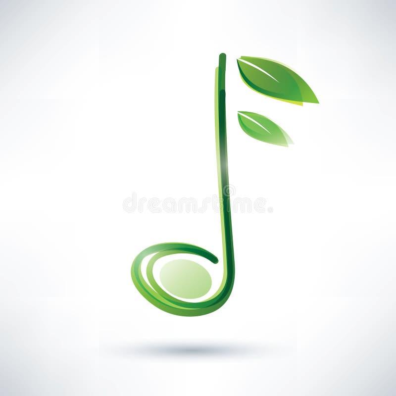 Grön musikalisk anmärkning royaltyfri illustrationer