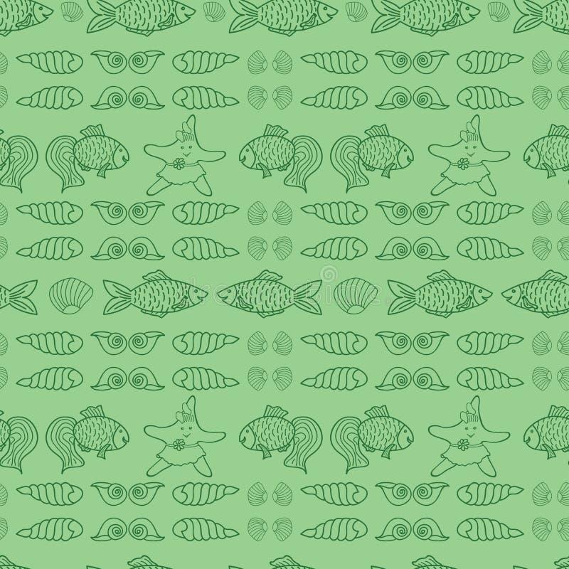 Grön nautisk vektorrepetitionmodell för ungar vektor illustrationer