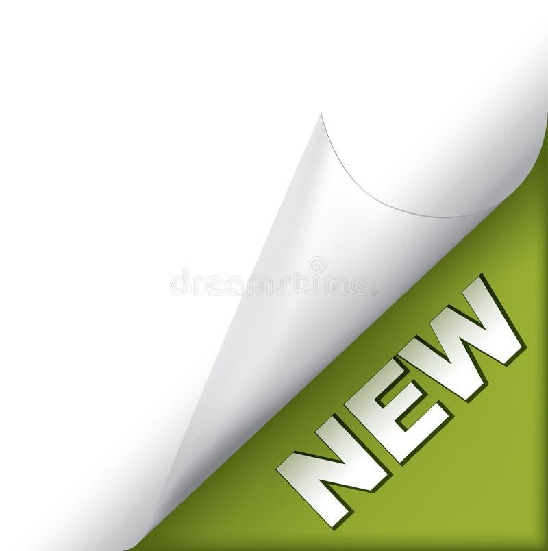 grön ny sida för hörn stock illustrationer