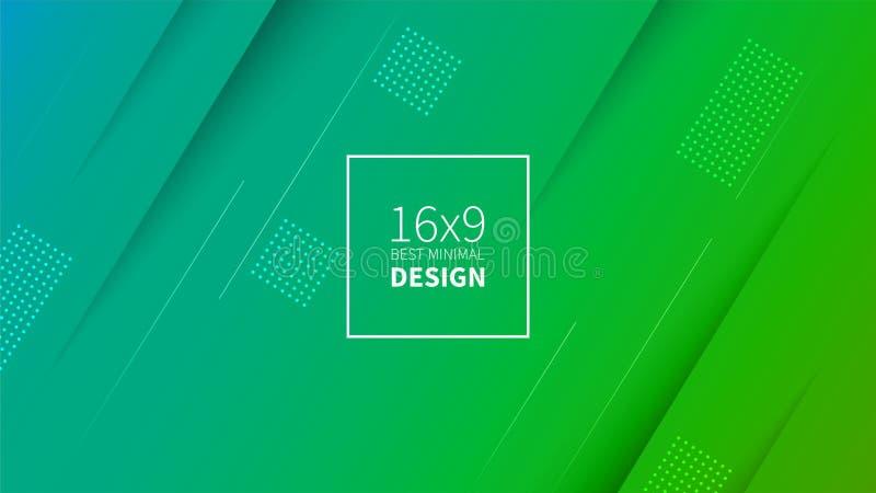 Grön och blå bakgrund för futuristisk design Mallar för plakat, baner, reklamblad, presentationer och rapporter Minsta geometrisk vektor illustrationer
