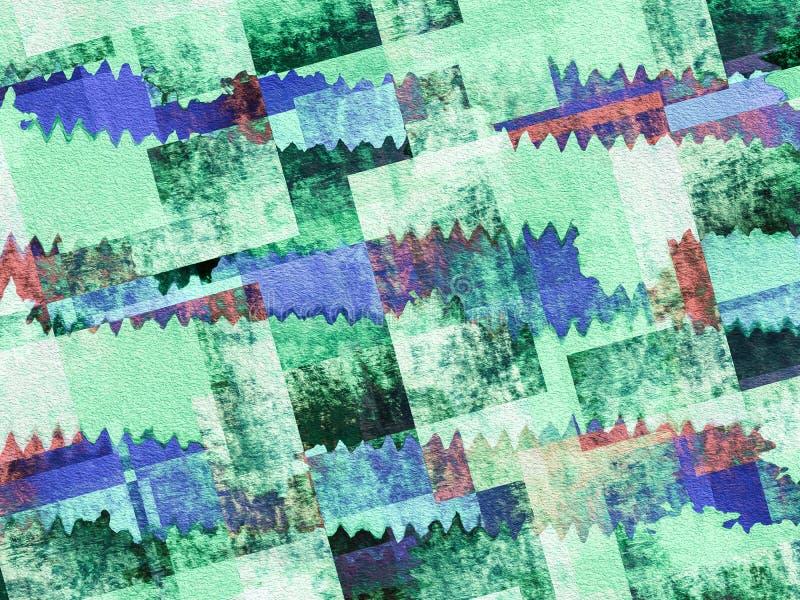 Grön och blå geometrisk texturerad bakgrund för Grunge stock illustrationer