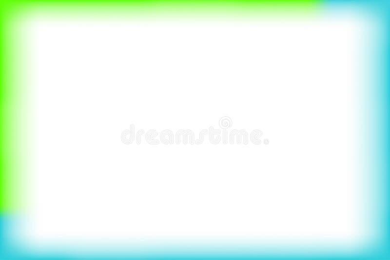 Grön och blå gränsrektangelsuddighet och slät vit för bakgrundsbanret och tomt kopieringsutrymme, konst för banerramvattenfärg vektor illustrationer