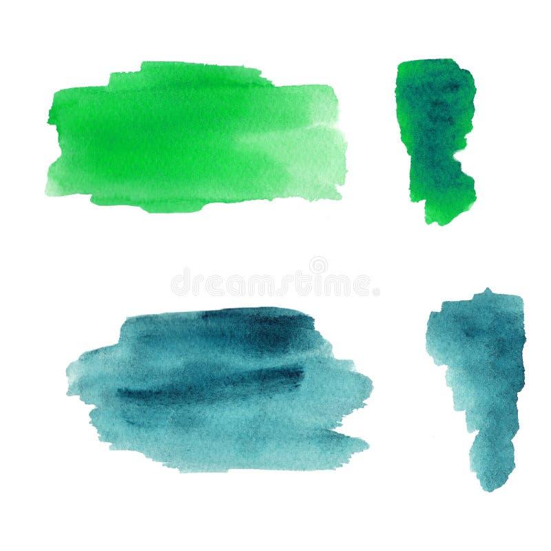 Grön och blå vattenfärgfärgstänk royaltyfri illustrationer