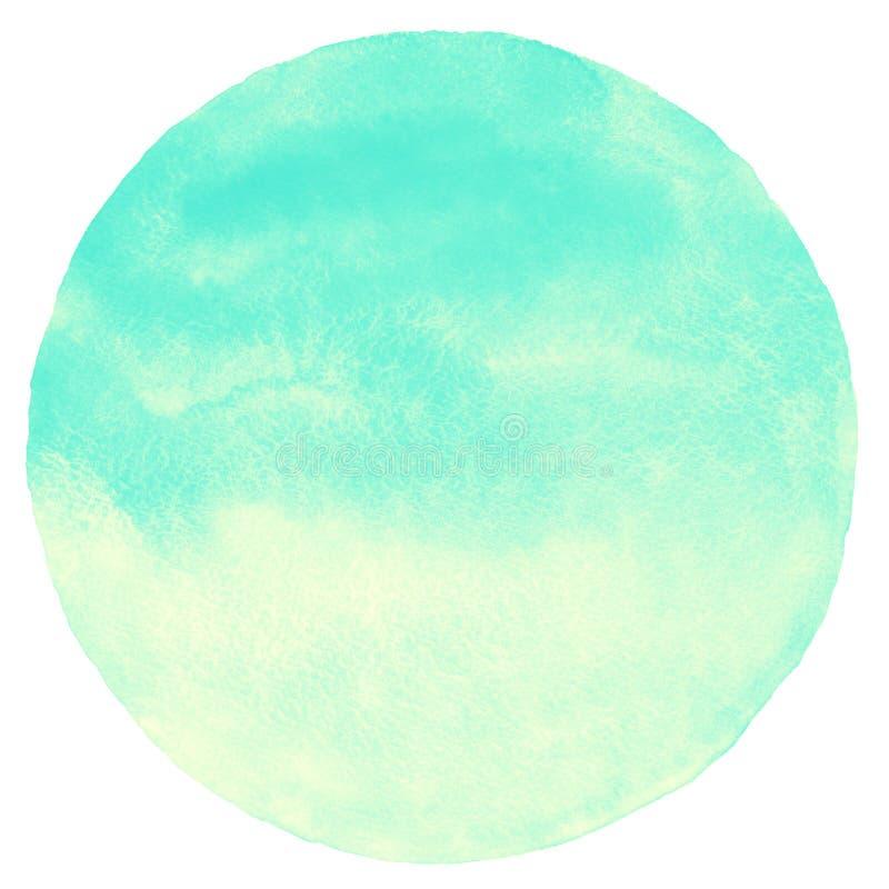 Grön och gul lutningvattenfärgcirkel för mintkaramell vektor illustrationer
