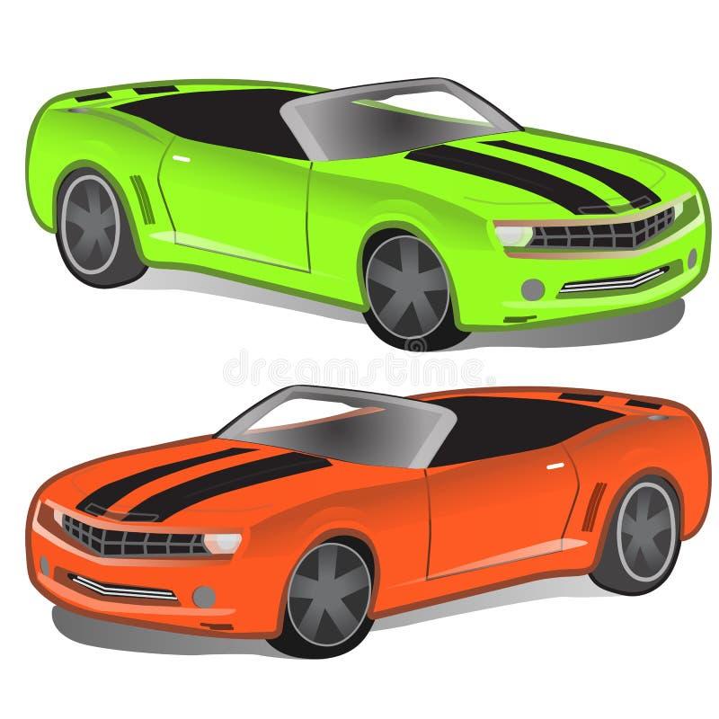 Grön och orange sportbil utan överkant Sportcar klassisk tappning Isolerad retro bil två vektor stock illustrationer