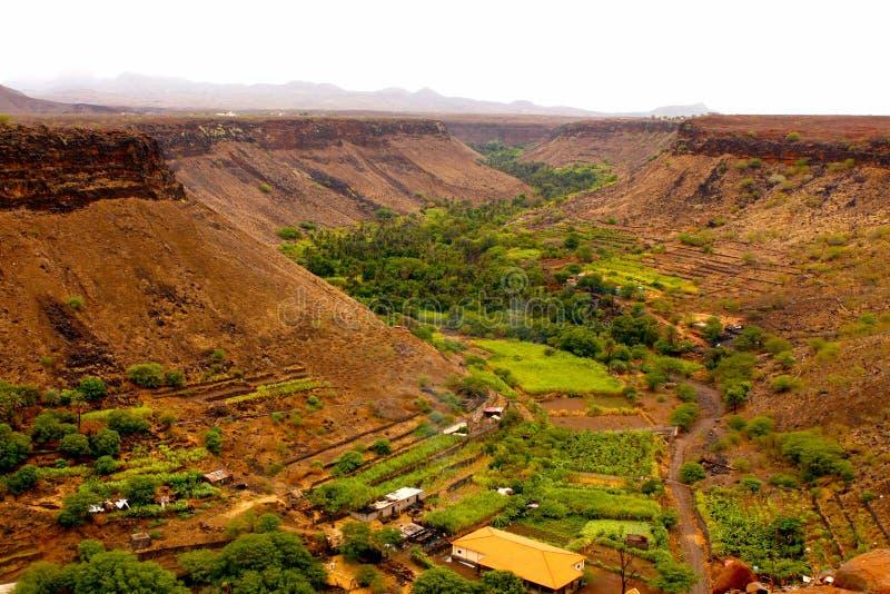 Grön och röd dal arkivfoto