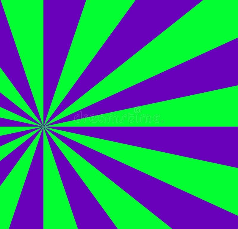 Grön och violett bakgrund för vibrerande abstrakt begrepp med sunburstpatte vektor illustrationer
