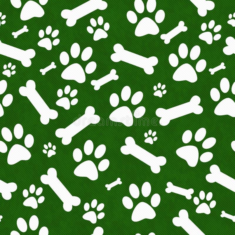 Grön och vit hund Paw Prints och Bac för repetition för bentegelplattamodell royaltyfri illustrationer
