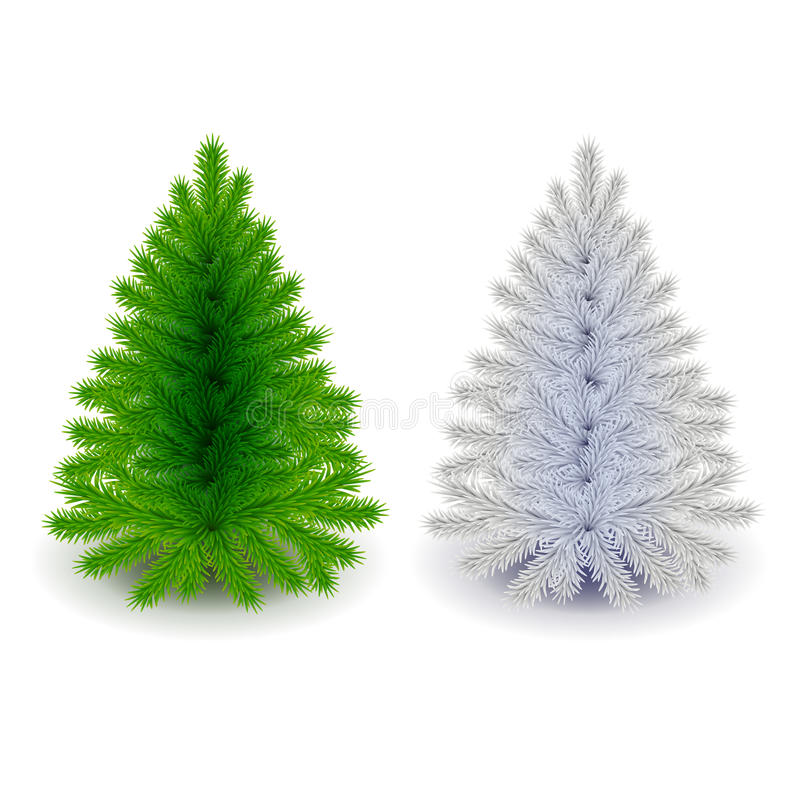 Grön och vit julgranvektor vektor illustrationer