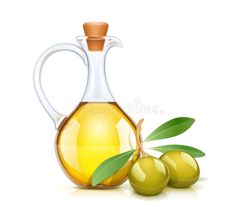 Grön Olive Oils flaska med kork Glass tillbringare royaltyfri illustrationer