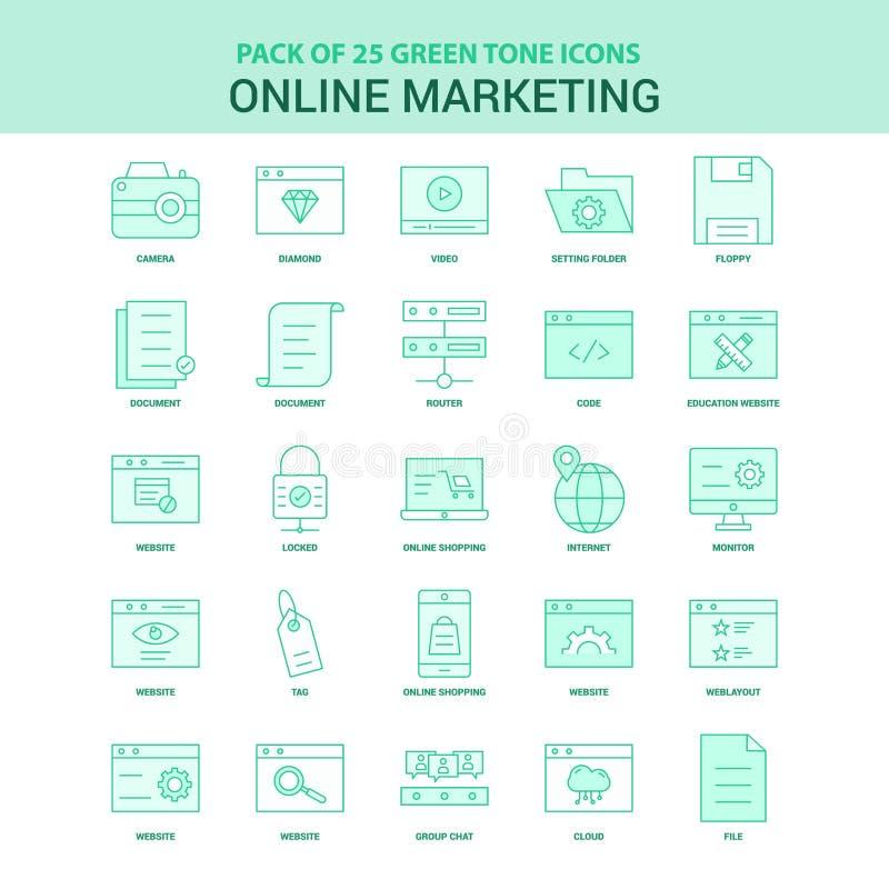Grön online-marknadsföra uppsättning för symbol 25 royaltyfri illustrationer