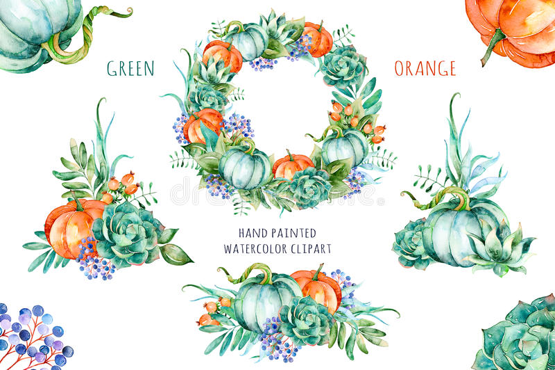 Grön orange målad samling för höjd kvalitets- vattenfärg vektor illustrationer