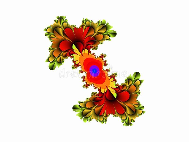 Grön orange röd dekorativ abstrakt fractal för former, blommadesign, sidor, bakgrund royaltyfria bilder