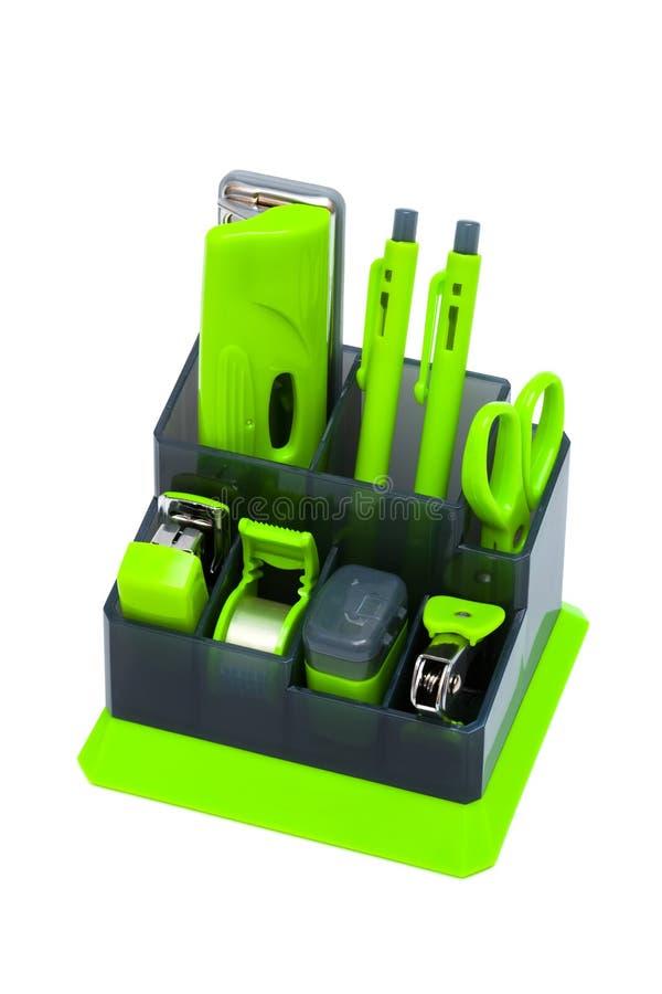 grön organisatör för skrivbord arkivbilder