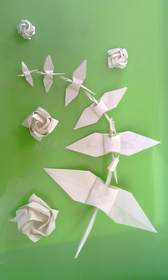 grön origami arkivbild