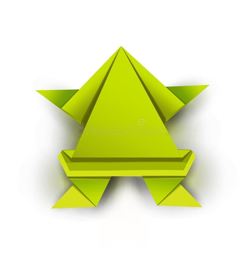 Grön origamigroda royaltyfri illustrationer