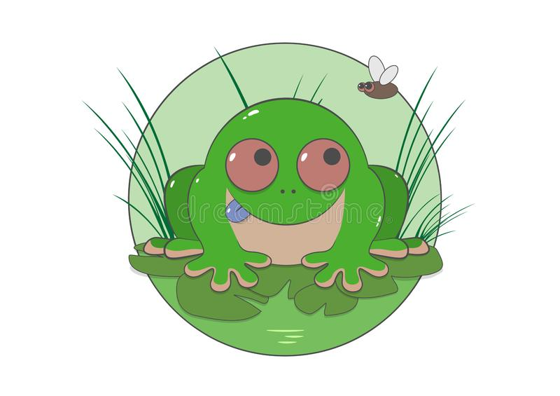 Grön padda i gräset stock illustrationer