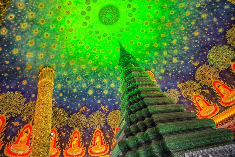 Grön pagod på Wat Paknam i Bangkok Thailand arkivbild
