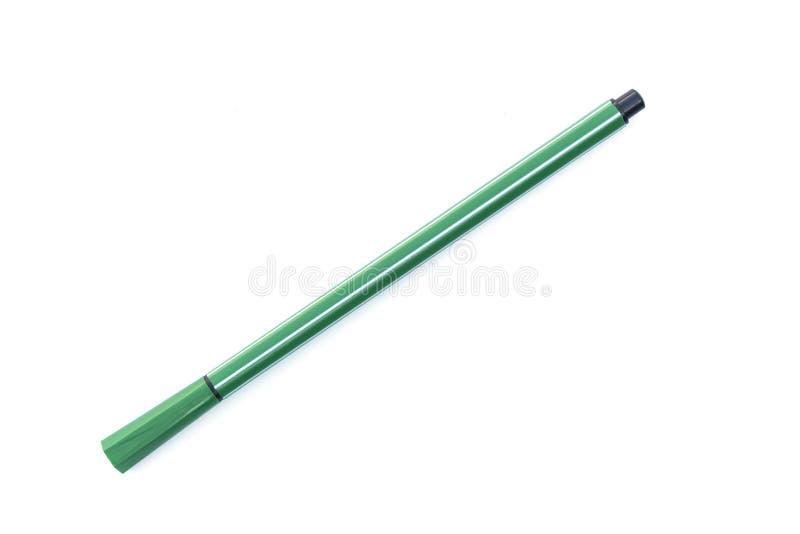 Grön penna isolerad vit bakgrund arkivfoto