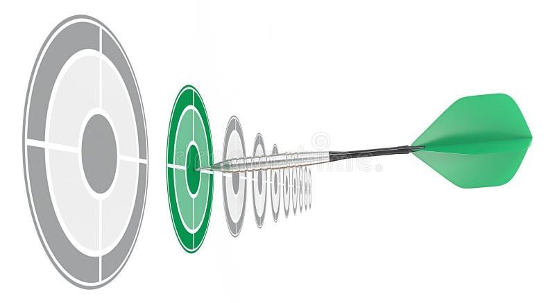 Grön pil stock illustrationer