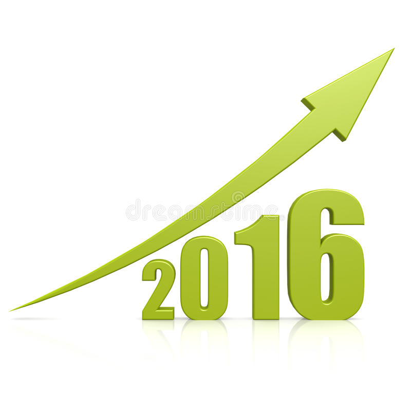 grön pil 2016 för tillväxt royaltyfri illustrationer
