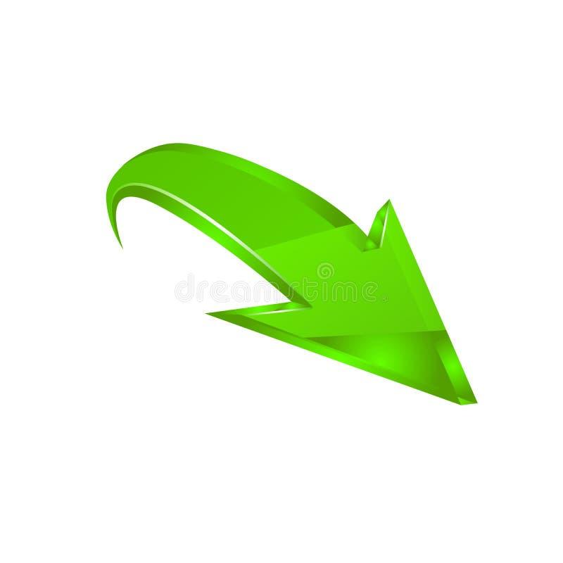 Grön pil vektor royaltyfri illustrationer