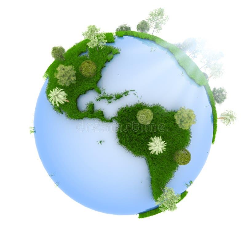 grön planetsoluppgång royaltyfri illustrationer