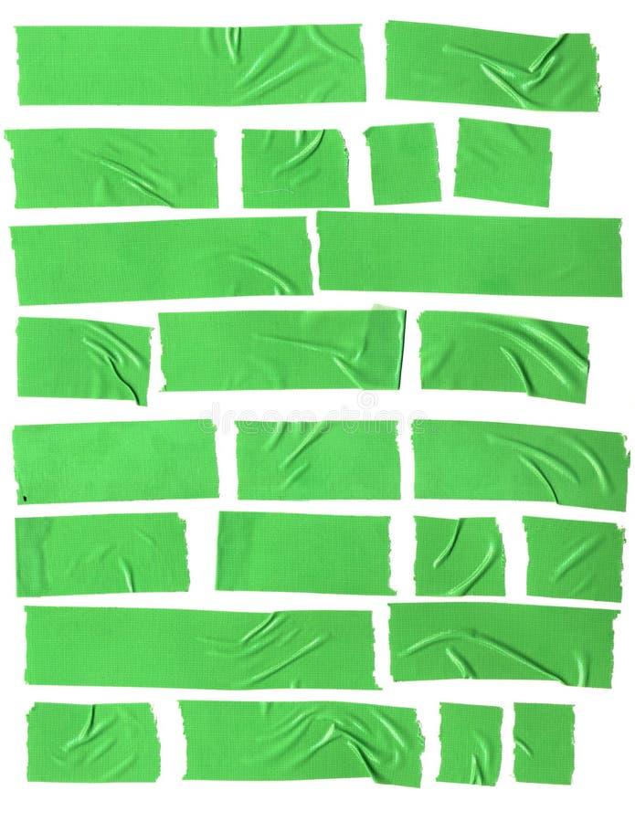 Grön plast- tejp på vit bakgrund vektor illustrationer