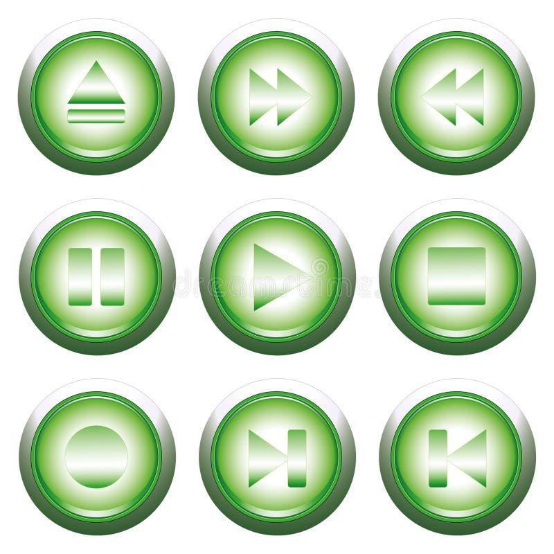 grön playback för knapp stock illustrationer