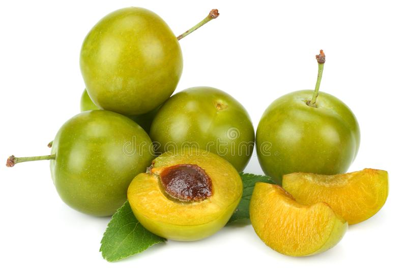 Grön plommonfrukt som isoleras på vit bakgrund royaltyfri bild