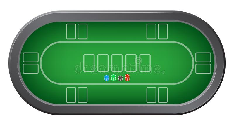 Grön pokertabell med bästa sikt för färgrika kasinochiper royaltyfri illustrationer