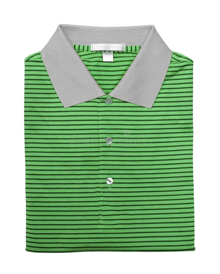 Grön poloskjorta som isoleras på vit royaltyfri fotografi