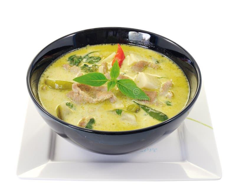 Grön porkcurry, thailändsk kokkonst royaltyfria bilder