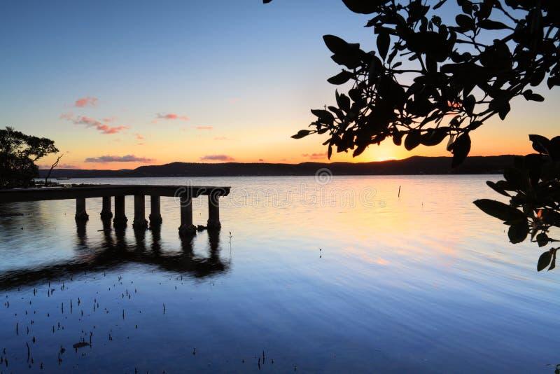 Grön punktbrygga på solnedgången royaltyfri fotografi