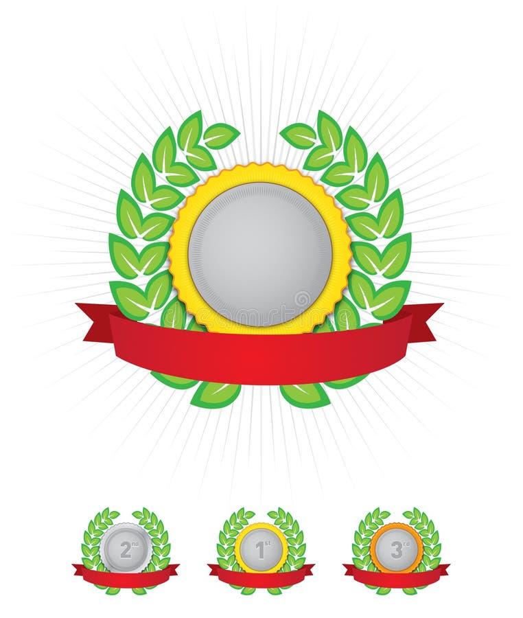 grön röd bandkran för emblem vektor illustrationer