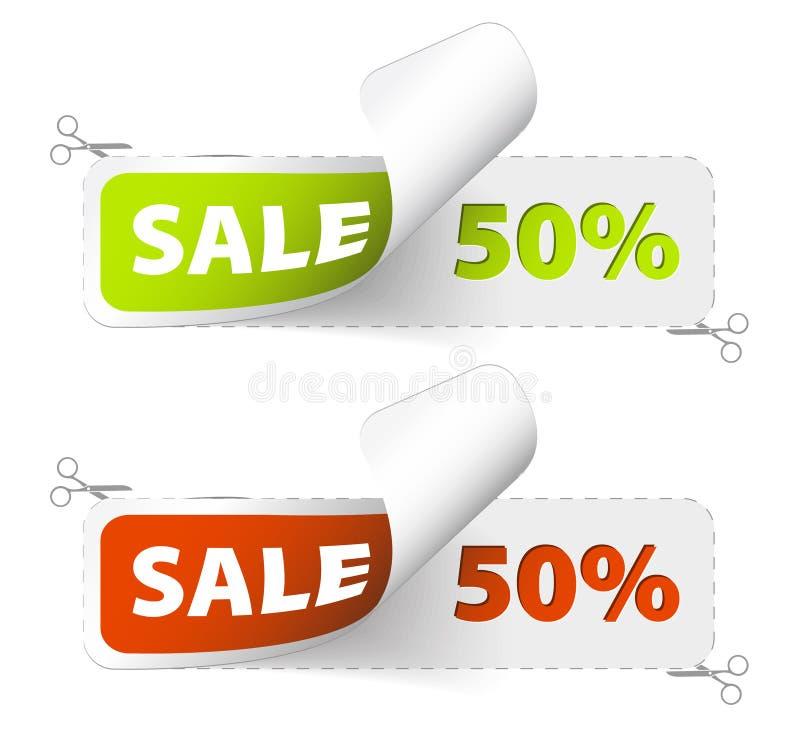 grön röd försäljning för kuponger royaltyfri illustrationer