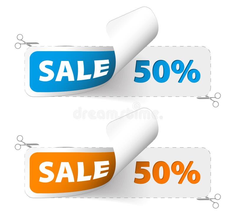 grön röd försäljning för kuponger vektor illustrationer