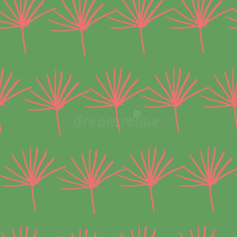 Grön röd orange gul djungelormbunke att lämna sömlös modelldesignbakgrund vektor illustrationer