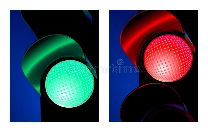 grön röd signaleringstrafik stock illustrationer