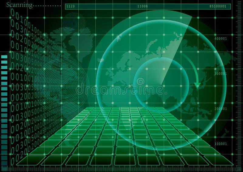 Grön radarskärm och världskarta stock illustrationer
