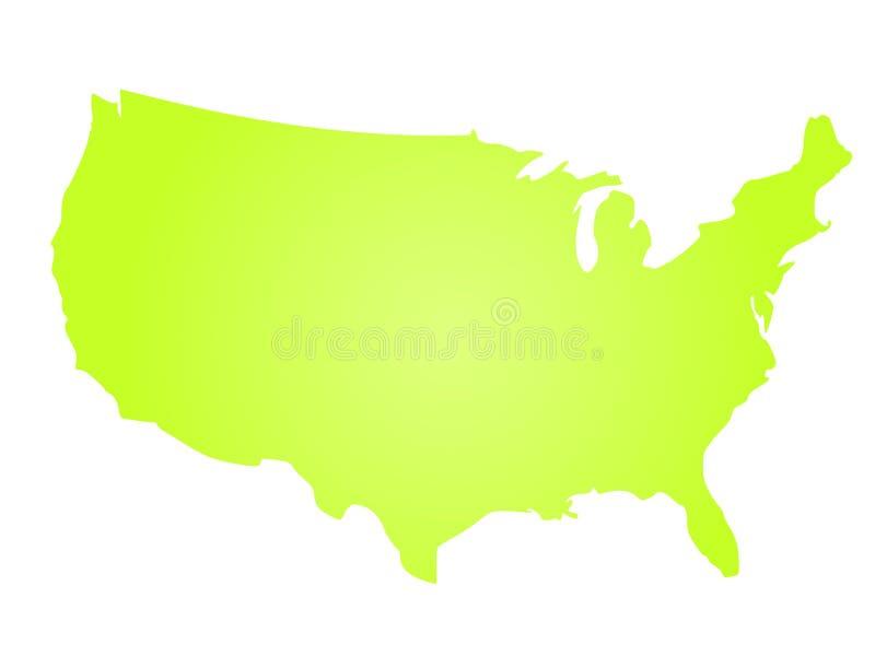 Grön radiell lutningkonturöversikt av Amerikas förenta stater, aka USA också vektor för coreldrawillustration royaltyfri illustrationer