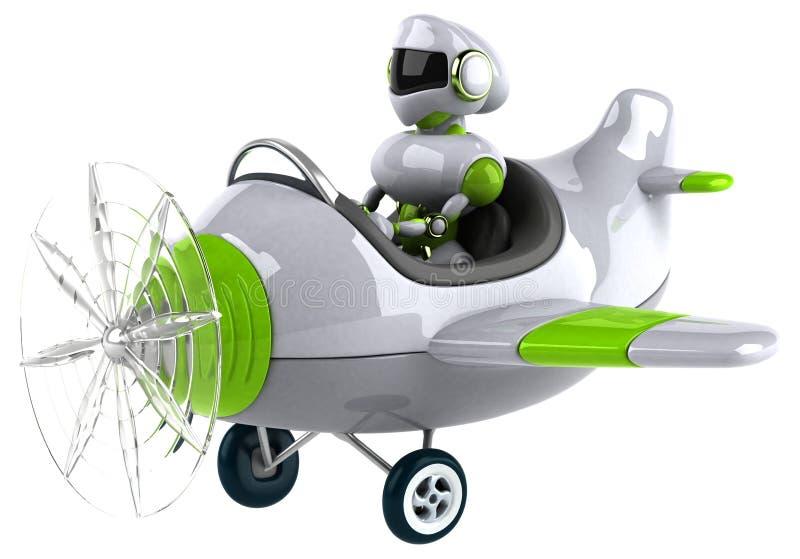 Grön robot - illustration 3D stock illustrationer