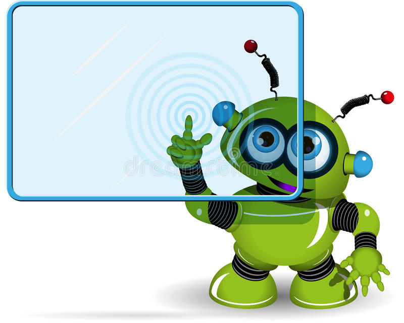 Grön robot och skärm vektor illustrationer
