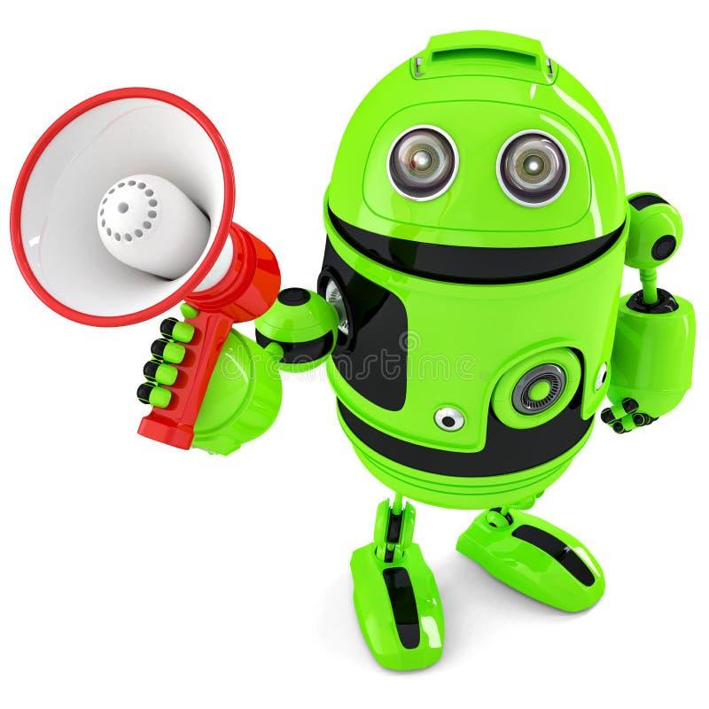 Grön robot som ropar in i megafon isolerat Innehåller den snabba banan vektor illustrationer
