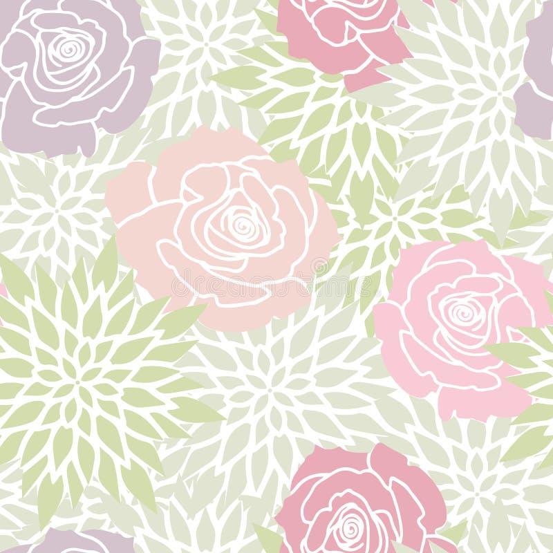 Grön rodnad rosa Rose Floral Seamless Pattern royaltyfri illustrationer
